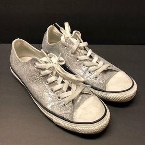 Chuck Taylor Converse Silver Glitter Sneakers Sz 8